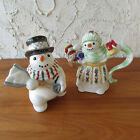 Fitz & Floyd The Flurries Creamer and Sugar Bowl Snowman Christmas Holiday Decor