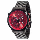 DETOMASO Aurino Mens Wrist Watch Chronograph Stainless Steel Black Red Dial New