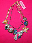 Betsey Johnson Heavens to Betsey Celestial Galaxy Star Moon Crystal Necklace NWT