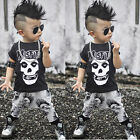 2pcs Toddler Kids Baby Boy T shirt Tops+Pant Skull Outfits Clothing Set US Stock