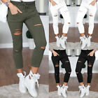 US STOCK Women Denim Skinny Ripped Pants High Waist Stretch Jeans Slim Pencil