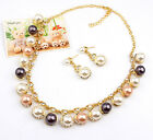 Women Rhinestone Faux Peral Jewelry Set Golden Necklace Earring Popular Pendant