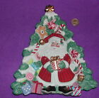 FITZ & FLOYD Christmas Tree with Santa Canape Plate  Exc Condition