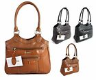 Large Women Ladies Two Strap Lorenz Real Patch Leather Shoulder Handbag