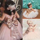 XMAS Kids Baby Girl Lace Floral Boknot Dress Party Bridesmaid Dresses US Stock