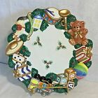 Fitz & Floyd Omnibus Christmas Wreath With Toys Candy Nut Dish Wall Plate