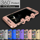 360 Protection Acrylic Hard Case + Tempered Glass Cover For Apple iPhone 6 6S 7