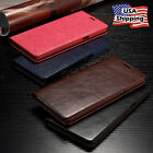 THIN Genuine Leather Wallet Card Case Flip Cover Samsung Galaxy Note 8 S8 Plus