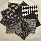 Shades Of BLACK  White  Grey Quilt Fabric Quilting Squares Charm Pack Blocks