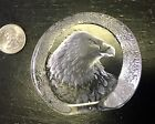 Signed Paperweight Eagle Portrait Carved Crystal
