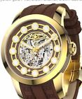 New Watchstar Zen Master Automatic 21j Brown Yellow Gold Skeleton 47mm Watch