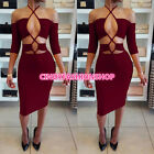 USA Women Sexy Hollow Out Tie UP Half Sleeve Body con Bandage Club Party Dress