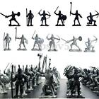 60PCS Set Medieval Knights Warriors Kids Toy Soldiers Figure Models Black Silver