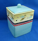 Small Canister Block OLE Nancy Green Blue Yellow Enamel Storage Display AS IS