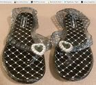 Ladies Glitter Jelly Sandals Jeweled Hearts Thong Design Black White Pink Brown