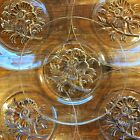 JEANETTE Glass Plate LOT: 5 Clear CAMELLIA Pressed Floral FLOWER Dessert ~ Salad