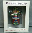 FITZ AND FLOYD Old Fashioned Jack in the Box Clown GLASS ORNAMENT Jester Xmas