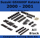 Complete Black Fairing Bolt Kit body screws for Suzuki Katana GSX 600F 2000 2001