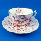Pink Bird Design on White Coalport Tea Cup and Saucer Set