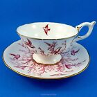 Coalport Pink Birds on White Tea Cup and Saucer Set