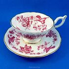 Pretty Pink Bird Design on White Coalport Tea Cup and Saucer Set