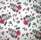 SNUGGLE FLANNEL  MUSIC AND ROSES on WHITE 100 Cotton Fabric NEW  BTY