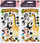 2 New Packs Scrapbook Stickers Welcome to the ZOO Tiger Toucan Giraffe Zebra