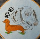 Dachshund Red Dog Embroidered Square Quilting Block Sewing Craft