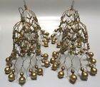 VINTAGE 4 LARGE WIRE  MERCURY GLASS BEAD BELL SHAPED XMAS TREE ORNAMENTS