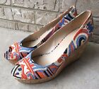 NEW Nine West Womens 8M Cork Wedges Cheerful Bright Multi Color Whoes Size 8 M