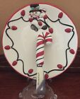 Fitz & Floyd Cheers Snack Plate Spreader Snowman Candy Cane Xmas Lights Holiday