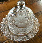 ABP AMERICAN BRILLIANT CUT GLASS DOME CHEESE BUTTER DISH HARVARD FLORAL