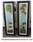 Pair of Framed Warren Kimble Folk Art , Spring and Fall