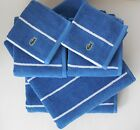 New Lacoste Sport Bath Towels~6 Piece Set~Indigo Blue & White Stripes Crocodile