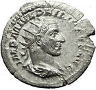 PHILIP I the Arab 245AD Silver Authentic Ancient Roman Coin Security i59470