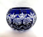 Bohemian Crystal Cobalt Blue Cut to Clear Votive Candle Holder