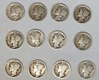 Lot of Twelve (12) 10C Mercury Silver Dimes (J-286)