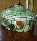 STAINED GLASS HANGING LIGHT  1930'S FRUIT GOURMET DINING DELI BEAUTIFUL!