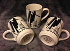 Sango Calligraphy Larry Laslo Black & White Design Coffee Mugs x 3