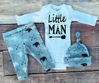 Kid Newborn Infant Baby Boy Girl LITTLE MAN Romper Tops+Pants Outfit Set Clothes