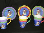 Set Of 3 Sango Sweet Shoppe Christmas SNOWMAN Dessert Plates and Mugs 3041