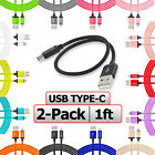 2 Pack USB C Cable 1FT SHORT Charging Charger Cord 1 Foot For Type C Phones