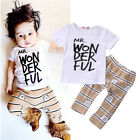 Newborn Toddler Baby Kids Boy Outfits T shirt Tops+ Pants Clothes 2PC Set US