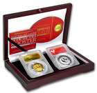 2017 Year of the Rooster HIGH RELIEF .9999 Silver + .9999 Gold PCGS PR70DCAM Set