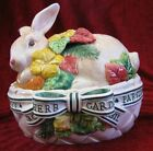 Fitz and Floyd Halcyon Bunny Rabbit Herb Garden Covered Box Original Box