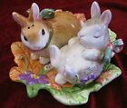 Fitz and Floyd Woodland Spring Bunny Rabbit Salt Pepper Shakers with Under Plate