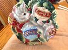 FITZ & FLOYD Essentials Kristmas Kitty CHRISTMAS CAT CANAPE PLATE