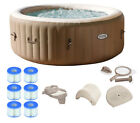 Intex PureSpa 4 Person Inflatable Portable Hot Tub Spa Package w Filter