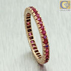 Antique Art Deco 14k Solid Rose Gold 0.76ctw Ruby Eternity Wedding Band Ring