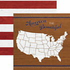 Paper House AMERICA THE BEAUTIFUL 12x12 Dbl Sided Scrapbooking 2pc Paper MAP